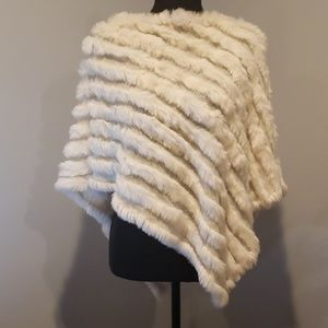 White Rabbit Fur Poncho